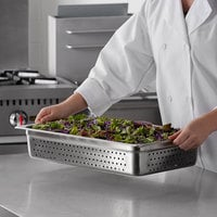 Carlisle 607004P DuraPan Full Size 4 inch Deep Perforated Anti-Jam Stainless Steel Steam Table / Hotel Pan - 24 Gauge