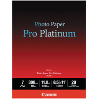 Canon 2768B022 Pro Platinum 8 1/2 inch x 11 inch High-Gloss White Pack of 11.8 Mil Photo Paper - 20 Sheets