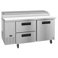 Hoshizaki PR67A-D2 67 inch 2 Drawer and 1 Door Refrigerated Pizza Prep Table