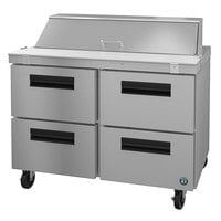 Hoshizaki SR48A-12D4 48 inch 4 Drawer Stainless Steel Refrigerated Sandwich Prep Table