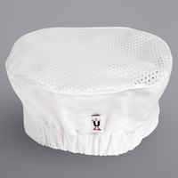 Uncommon Threads 0157C White Customizable Kool Mesh Top Chef Skull Cap / Pill Box Hat