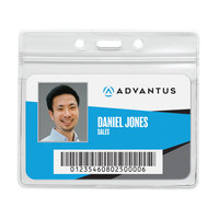 Advantus 75523 4 inch x 2 3/4 inch Clear Resealable Horizontal ID Badge Holder - 50/Pack