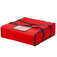 Choice Insulated Pizza Delivery Bag, Red Nylon, 18 inch x 18 inch x 5 inch - Holds up to (2) 16 inch or (1) 18 inch Pizza Boxes