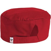 Uncommon Threads 0159 Red Customizable Uncommon Chef Skull Cap / Pill Box Hat with Hook and Loop Closure