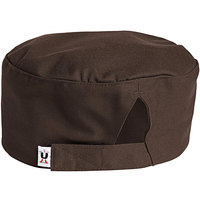 Uncommon Threads 0159 Brown Customizable Uncommon Chef Skull Cap / Pill Box Hat with Hook and Loop Closure