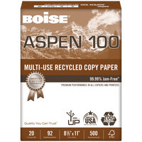 Boise 054922 Aspen 100 8 1/2 inch x 11 inch White Case of 20# Multi-Use Recycled Paper - 5000 Sheets - 10/Case