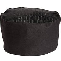 Uncommon Threads 0157C Black Customizable Kool Mesh Top Chef Skull Cap / Pill Box Hat