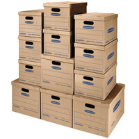 Banker's Box 7716401 SmoothMove Classic Assorted Size Kraft Brown / Blue Moving Boxes   - 12/Case
