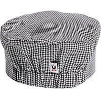 Uncommon Threads 0156C Houndstooth Customizable Chef Skull Cap / Pill Box Hat