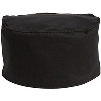 Uncommon Threads 0156C Black Customizable Chef Skull Cap / Pill Box Hat