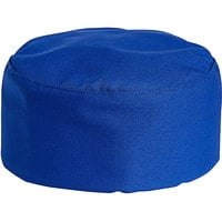 Uncommon Threads 0159 Royal Blue Customizable Uncommon Chef Skull Cap / Pill Box Hat with Hook and Loop Closure