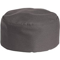 Uncommon Threads 0159 Slate Gray Customizable Uncommon Chef Skull Cap / Pill Box Hat with Hook and Loop Closure