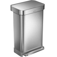 simplehuman CW2024 12 Gallon / 45 Liter Brushed Stainless Steel Rectangular Front Step-On Trash Can with Liner Pocket