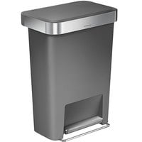simplehuman CW1386 12 Gallon / 45 Liter Gray Rectangular Front Step-On Trash Can with Liner Pocket