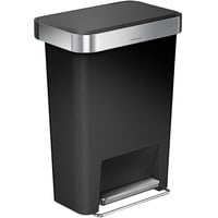 simplehuman CW1385 12 Gallon / 45 Liter Black Rectangular Front Step-On Trash Can with Liner Pocket
