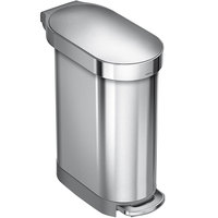 simplehuman CW2044 12 Gallon / 45 Liter Brushed Stainless Steel Slim Step-On Rectangular Trash Can
