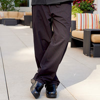 Uncommon Threads 4003 Unisex Black / Red Pinstripe Customizable Yarn-Dyed Chef Pants - L