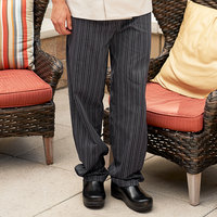 Uncommon Threads 4003 Unisex Black / White Tribal Stripe Customizable Yarn-Dyed Chef Pants - L