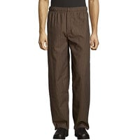 Uncommon Threads 4003 Unisex Black / Copper Stripe Customizable Yarn-Dyed Chef Pants - L