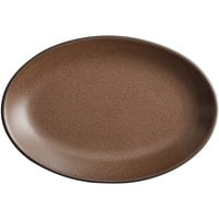 Acopa Embers 9 1/2 inch x 6 1/2 inch Hickory Brown Matte Coupe Stoneware Platter - 12/Case