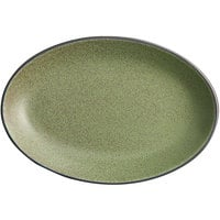 Acopa Embers 9 1/2 inch x 6 1/2 inch Moss Green Matte Coupe Stoneware Platter - 12/Case
