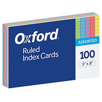 Oxford 35810 5 inch x 8 inch Assorted Color Ruled Index Cards - 100/Pack