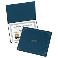 Oxford 29900235BGD 11 1/4 inch x 8 3/4 inch Dark Blue Letter Size Certificate Holder - 5/Pack