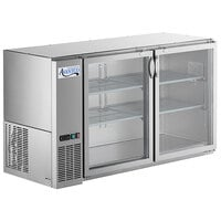Avantco UBB-60-GT-G-S 60 inch Stainless Steel Underbar Height Narrow Glass Door Back Bar Refrigerator with Galvanized Top and LED Lighting
