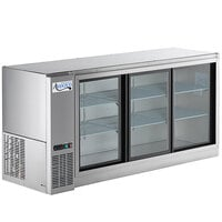 Avantco UBB-72S-GT-S 72 inch Stainless Steel Underbar Height Narrow Sliding Glass Door Back Bar Refrigerator with Galvanized Top and LED Lighting