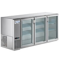 Avantco UBB-72-GT-G-S 72 inch Stainless Steel Underbar Height Narrow Glass Door Back Bar Refrigerator with Galvanized Top and LED Lighting