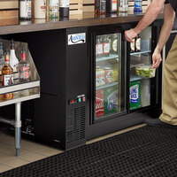 Avantco UBB-48S-GT 48 inch Black Underbar Height Narrow Sliding Glass Door Back Bar Refrigerator with Galvanized Top and LED Lighting