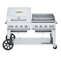 Crown Verity CV-MCB-60RGP-NG Natural Gas 60 inch Mobile Outdoor Grill with RGP Roll Dome and Griddle