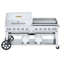 Crown Verity CV-CCB-72RGP Liquid Propane 72 inch Club Grill with 2 Horizontal Propane Tanks and RGP Roll Dome / Griddle Package