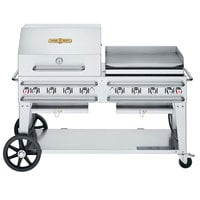 Crown Verity CV-RCB-60RGP-SI-BULK Liquid Propane 60 inch Pro Series Outdoor Rental Grill with Single Gas Connection, Bulk Tank Capacity, and RGP Roll Dome / Griddle Package