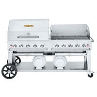 Crown Verity CV-CCB-72RWP Liquid Propane 72 inch Club Grill with 2 Horizontal Propane Tanks and RWP Roll Dome / Wind Guard Package
