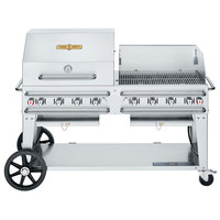 Crown Verity CV-RCB-60RWP-SI50/100 Liquid Propane 60 inch Pro Series Outdoor Rental Grill with Single Gas Connection, 50-100 lb. Tank Capacity, and RWP Roll Dome / Wind Guard Package