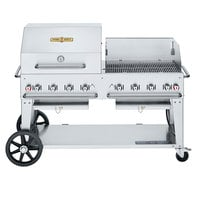 Crown Verity CV-MCB-60RWP-LP Liquid Propane 60 inch Mobile Outdoor Grill with RWP Roll Dome, Wind Guard, and Bun Rack