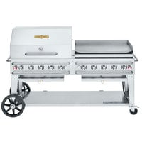 Crown Verity CV-RCB-72RGP-SI-BULK Liquid Propane 72 inch Pro Series Outdoor Rental Grill with Single Gas Connection, Bulk Tank Capacity, and RGP Roll Dome / Griddle Package