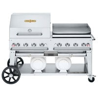 Crown Verity CV-CCB-60RGP Liquid Propane 60 inch Club Grill with 2 Horizontal Propane Tanks and RGP Roll Dome / Griddle Package