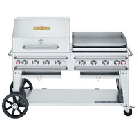 Crown Verity CV-RCB-60RGP-SI50/101 Liquid Propane 60 inch Pro Series Outdoor Rental Grill with Single Gas Connection, 50-100 lb. Tank Capacity, and RGP Roll Dome / Griddle Package