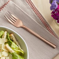 Acopa Phoenix Rose Gold 7 5/16 inch 18/0 Stainless Steel Forged Salad Fork - 12/Case