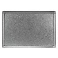 Front of the House DDP073ANS21 Mod 14 inch x 9 1/2 inch Rectangular Antique Finish Stainless Steel Plate - 4/Case