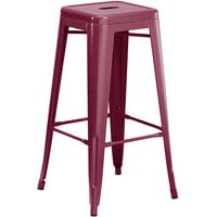 Lancaster Table & Seating Alloy Series Sangria Stackable Metal Indoor / Outdoor Industrial Barstool with Drain Hole Seat