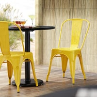 Lancaster Table & Seating Alloy Series Yellow Metal Indoor / Outdoor Industrial Cafe Chair with Vertical Slat Back and Drain Hole Seat