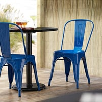 Lancaster Table & Seating Alloy Series Blue Metal Indoor / Outdoor Industrial Cafe Chair with Vertical Slat Back and Drain Hole Seat