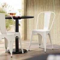 Lancaster Table & Seating Alloy Series White Metal Indoor / Outdoor Industrial Cafe Chair with Vertical Slat Back and Drain Hole Seat