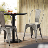Lancaster Table & Seating Alloy Series Clear Coat Metal Indoor Industrial Cafe Chair with Vertical Slat Back and Drain Hole Seat