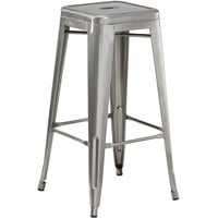 Lancaster Table & Seating Alloy Series Clear Coat Stackable Metal Indoor Industrial Barstool with Drain Hole Seat