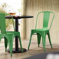 Lancaster Table & Seating Alloy Series Green Metal Indoor / Outdoor Industrial Cafe Chair with Vertical Slat Back and Drain Hole Seat