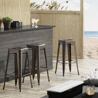 Lancaster Table & Seating Alloy Series Copper Stackable Metal Indoor / Outdoor Industrial Barstool with Drain Hole Seat